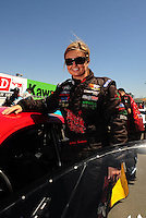 Jul. 17, 2010; Sonoma, CA, USA; NHRA pro stock driver Erica Enders during qualifying for the Fram Autolite Nationals at Infineon Raceway. Mandatory Credit: Mark J. Rebilas-