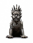 Chinese Guardian Lion bronze statue, Foo Dog, Gate Keeper isolated on white background with clipping path