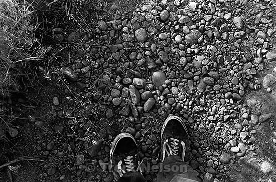 Trent feet and rocks in canyon where we used to hike and play.<br />