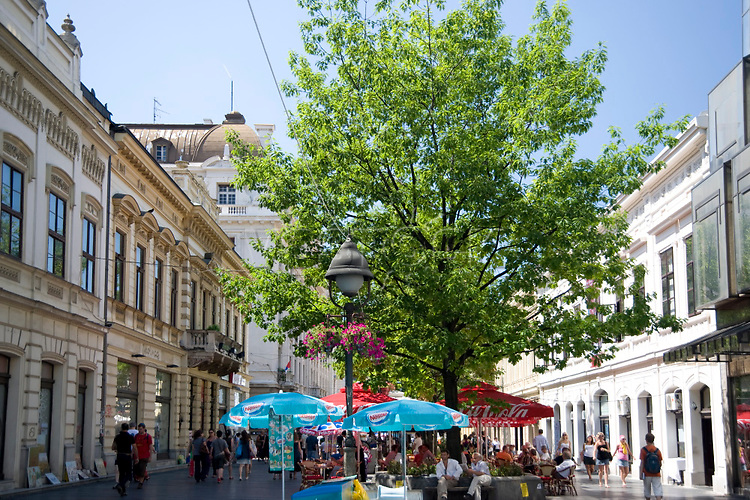 Restored buildings and cafes in Knez-Mihailova, a pedestrian area in the old town, Belgrade, Serbia, Europe