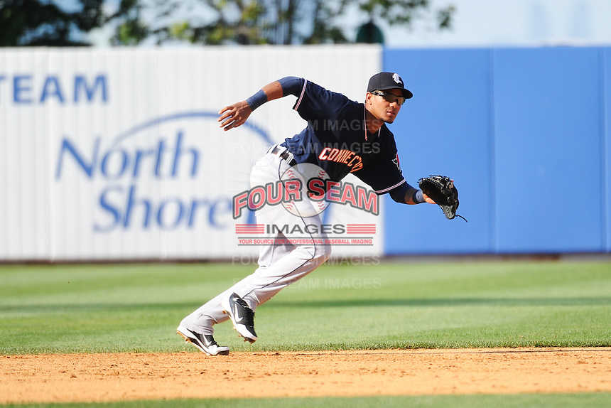 Connecticut Tigers infielder Javier Azcona (27) during game against the Staten Island Yankees at Richmond County Bank Ballpark at St.George on July 7, 2013 in Staten Island, NY.  Staten Island defeated Connecticut 6-2.  (Tomasso DeRosa/Four Seam Images)