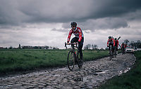 Jelle Wallays (BEL/Lotto-Soudal)<br /> <br /> parcours recon of the 116th Paris-Roubaix 2018, 3 days prior to the race