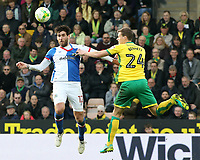 Blackburn Rovers' Danny Graham battles with Norwich City's Ryan Bennett<br /> <br /> Photographer David Shipman/CameraSport<br /> <br /> The EFL Sky Bet Championship - Norwich City v Blackburn Rovers - Saturday 11th March 2017 - Carrow Road - Norwich<br /> <br /> World Copyright &copy; 2017 CameraSport. All rights reserved. 43 Linden Ave. Countesthorpe. Leicester. England. LE8 5PG - Tel: +44 (0) 116 277 4147 - admin@camerasport.com - www.camerasport.com