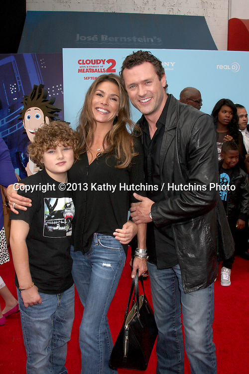 "LOS ANGELES - SEP 21:  David O'Mara, Paige Turco, Jason O'Mara at the ""Cloudy With A Chance of Meatballs 2"" Los Angeles Premiere at Village Theater on September 21, 2013 in Westwood, CA"
