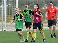 20180306 - LARNACA , CYPRUS :  Belgian Celien Guns , Nicky Van Den Abbeele and Laura De Neve (r) pictured during a Matchday -1 training from The Belgian Red Flames prior to their game against South Africa , on tuesday 6 March 2018 at the Alpha Sports Grounds in Larnaca , Cyprus . This will be the final game for Belgium during the Cyprus Womens Cup for a battle for the 5th place , a prestigious women soccer tournament as a preparation on the World Cup 2019 qualification duels. PHOTO SPORTPIX.BE | DAVID CATRY
