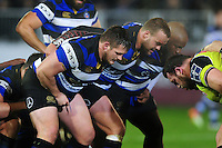 The Bath Rugby front row of Shaun Knight, Michael van Vuuren and Beno Obano prepare to scrummage. Anglo-Welsh Cup match, between Bath Rugby and Leicester Tigers on November 4, 2016 at the Recreation Ground in Bath, England. Photo by: Patrick Khachfe / Onside Images