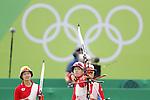 (L-R) Kaori Kawanaka, Saori Nagamine, Yuki Hayashi,  (JPN),<br /> AUGUST 7 2016 - Archery : <br /> Women's teaml final Round Quarter finals<br /> at Sambodromo <br /> during the Rio 2016 Olympic Games in Rio de Janeiro, Brazil. <br /> (Photo by Yusuke Nakanishi/AFLO SPORT)