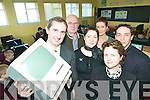 They've got IT: Jerry Kennelly showing the pupils of Scoil Realta na Maidine his first 1984 computer at the launch of the school's computer room on Friday. Jerry is pictured with Peter Coppin, (IT tutor), Margaret Lane. (IT coordinator), Bernie Sheehy, (Principal) John Corridon (Board of Management) and Mary Kelly, (Parent's Association).