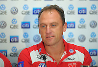 Swans coach John Longmire talks to the media during the St Kilda Saints v Sydney Swans press conference at the Aotea Lounge, Westpac Stadium, Wellington, New Zealand on Wednesday, 24 May 2013. Photo: Dave Lintott / lintottphoto.co.nz