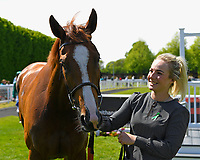 Time Change and stable lass in the winners enclosure after winning The Smith & Williamson British EBF Fillies' Handicap (Class 3)   during Afternoon Racing at Salisbury Racecourse on 17th May 2018