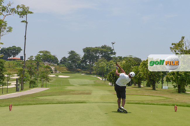 Saleh ALKAABI (QAT) watches his tee shot on 3 during Rd 1 of the Asia-Pacific Amateur Championship, Sentosa Golf Club, Singapore. 10/4/2018.<br /> Picture: Golffile | Ken Murray<br /> <br /> <br /> All photo usage must carry mandatory copyright credit (© Golffile | Ken Murray)