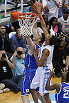 07 March 2015: North Carolina's Brice Johnson (right) blocks a shot by Duke's Marshall Plumlee (left). The University of North Carolina Tar Heels played the Duke University Blue Devils in an NCAA Division I Men's basketball game at the Dean E. Smith Center in Chapel Hill, North Carolina. Duke won the game 84-77.