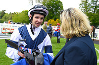 Jockey Charles Bishop talks to Trainer of Bella Vita, Eve Johnston Houghton in the Winners enclosure after winning The Byerley Stud British EBF Fillies' Handicap during Afternoon Racing at Salisbury Racecourse on 16th May 2019