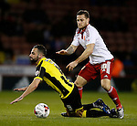 Robbie Weir of Burton Albion tackled by Billy Sharp of Sheffield Utd - English League One - Sheffield Utd vs Burton Albion - Bramall Lane Stadium - Sheffield - England - 1st March 2016 - Pic Simon Bellis/Sportimage