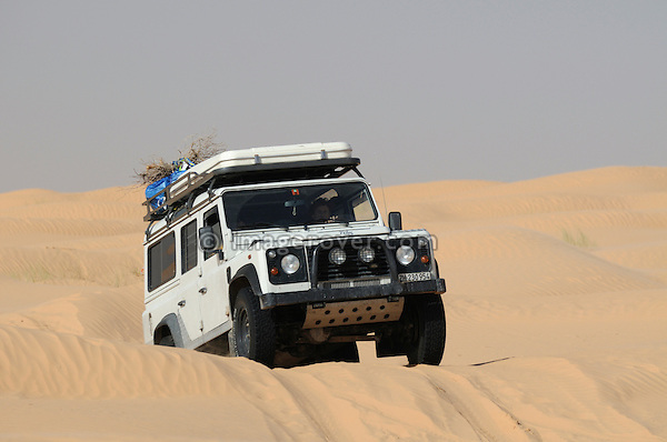 Africa, Tunisia, nr. Tembaine. Land Rover Defender 110 TD5 Station Wagon on its way through a stretch of sand dunes close to Tembaine on the eastern edge of the Grand Erg Oriental. --- No releases available, but releases may not be needed for certain uses. Automotive trademarks are the property of the trademark holder, authorization may be needed for some uses.  --- Info: Image belongs to a series of photographs taken on a journey to southern Tunisia in North Africa in October 2010. The trip was undertaken by 10 people driving 5 historic Series Land Rover vehicles from the 1960's and 1970's. Most of the journey's time was spent in the Sahara desert, especially in the area around Douz, Tembaine, Ksar Ghilane on the eastern edge of the Grand Erg Oriental.