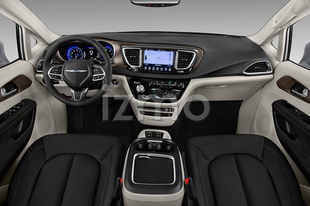 Stock photo of straight dashboard view of 2017 Chrysler Pacifica Touring-L-Plus 5 Door Minivan Dashboard