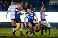 Ruaridh McConnochie of Bath Rugby celebrates his first half try. Premiership Rugby Cup match, between Bath Rugby and Gloucester Rugby on February 3, 2019 at the Recreation Ground in Bath, England. Photo by: Patrick Khachfe / Onside Images