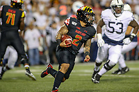 College Park, MD - September 27, 2019: Maryland Terrapins running back Lorenzo Harrison III (2) runs the ball during game between Penn St and Maryland at  Capital One Field at Maryland Stadium in College Park, MD.  (Photo by Elliott Brown/Media Images International)