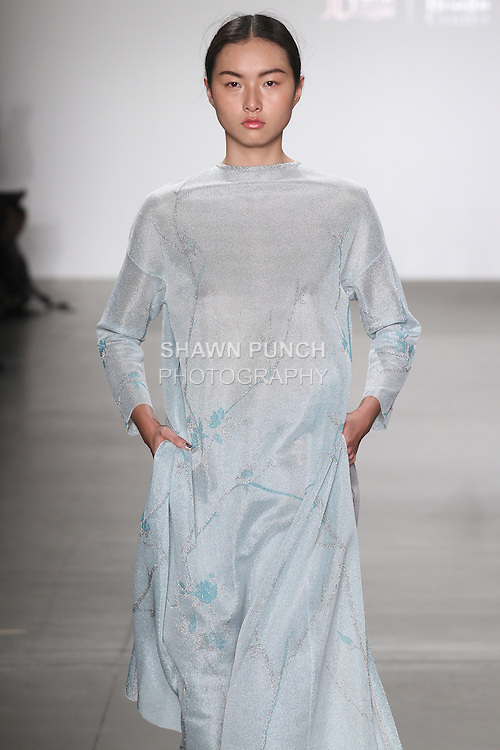 Model walks runway in an outfit by Ruiping Guo, for the JD Fashion runway show at Pier 59 Studios for NYFW: The Shows, during New York Fashion Week Fall 2016.