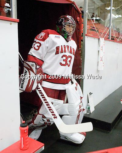 Kyle Richter (Harvard - 33) - The Boston College Eagles defeated the Harvard University Crimson 3-2 on Wednesday, December 9, 2009, at Bright Hockey Center in Cambridge, Massachusetts.