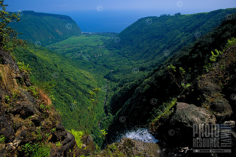 Waipio Valley from top of Hiilawe waterfall,  Big Island