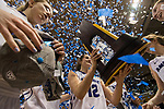 GRAND RAPIDS, MI - MARCH 18: Madeline Eck (12) of Amherst College gets her first look at their trophy during the Division III Women's Basketball Championship held at Van Noord Arena on March 18, 2017 in Grand Rapids, Michigan. Amherst College defeated Tufts University 52-29 for the national title. (Photo by Brady Kenniston/NCAA Photos via Getty Images)