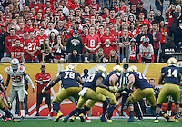 Ohio State Buckeyes fans watch the Notre Dame Fighting Irish offense during the third quarter of the Battlefrog Fiesta Bowl at University of Phoenix Stadium in Glendale, Arizona on Jan. 1, 2016. (Adam Cairns / The Columbus Dispatch)