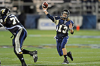 6 November 2010:  FIU quarterback Wesley Carroll (13) passes in the third quarter as the FIU Golden Panthers defeated the University of Louisiana-Monroe Warhawks, 42-35 in double overtime, at FIU Stadium in Miami, Florida.