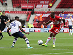 Britt Assombalonga of Middlesbrough in action with Darnell Fisher of Preston North End during the Sky Bet Championship match at the Riverside Stadium, Middlesbrough. Picture date: August 26th 2017. Picture credit should read: Jamie Tyerman/Sportimage