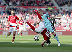 Rudy Gestede of Middlesbrough in action with Ben Mee of Burnley during the Premier League match at the Riverside Stadium, Middlesbrough. Picture date: April 8th, 2017. Pic credit should read: Jamie Tyerman/Sportimage