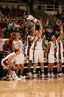 23 February 2006: Krista Rappahahn, Brooke Smith, Candice Wiggins, Kristen Newlin, and Rosalyn Gold-Onwude during Stanford's 100-69 win over the Washington Huskies at Maples Pavilion in Stanford, CA.