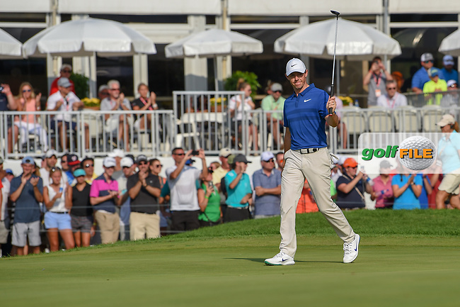 Rory McIlroy (NIR) is welcomed onto the green on 18 during 4th round of the World Golf Championships - Bridgestone Invitational, at the Firestone Country Club, Akron, Ohio. 8/5/2018.<br /> Picture: Golffile | Ken Murray<br /> <br /> <br /> All photo usage must carry mandatory copyright credit (© Golffile | Ken Murray)