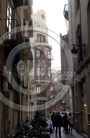 Valencia-Spain, 27 December 2007---Art nouveau facade with, wooden windows in a narrow street; architecture, infrastructure---Photo: Horst Wagner / eup-images