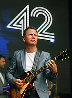 Nathan King of Level 42 <br /> UB40 concert at Parc Y Scarlets, Llanelli, Wales, UK. Saturday 10 June 2017