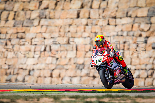 02.04.2016. Motorland, Aragon, Spain. World Championship Motul FIM of Superbikes. Xabi Fores  #12, Ducati 1199 Panigale R rider of Superbike in action during the race  in the World Championship Motul FIM of Superbikes from the Circuito de Motorland.