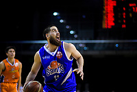 Jordan Ngatai in action during the national basketball league final  between Wellington Saints and Southland Sharks at TSB Bank Arena in Wellington, New Zealand on Sunday, 5 August 2018. Photo: Dave Lintott / lintottphoto.co.nz