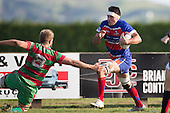 Todd Petrie cuts back inside Tom Read as he heads for the Tryline. Counties Manukau Premier Club Rugby game between Waiuku and Ardmore Marist, played at Waiuku on Saturday June 4th 2016. Ardmore Marist won 46 - 3 after leading 39 - 3 at Halftime. Photo by Richard Spranger.