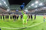 Stockholm 2014-04-16 Fotboll Allsvenskan Djurg&aring;rdens IF - AIK :  <br /> AIK:s m&aring;lvakt Kyriakos Stamatopoulos med lagkamrater jublar med AIK supportrar efter matchen och segern &ouml;ver Djurg&aring;rden<br /> (Foto: Kenta J&ouml;nsson) Nyckelord:  Djurg&aring;rden DIF Tele2 Arena AIK jubel gl&auml;dje lycka glad happy