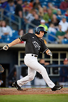 Quad Cities River Bandits right fielder Carmen Benedetti (37) follows through on a swing during a game against the Lake County Captains on May 6, 2017 at Modern Woodmen Park in Davenport, Iowa.  Lake County defeated Quad Cities 13-3.  (Mike Janes/Four Seam Images)