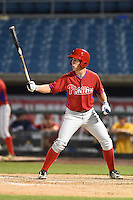 Jonathan Martin (2) of Felix-Leclerc High School in L'assomption, Quebec Canada playing for the Philadelphia Phillies scout team during the East Coast Pro Showcase on July 31, 2014 at NBT Bank Stadium in Syracuse, New York.  (Mike Janes/Four Seam Images)