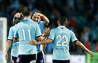 Sydney FC Richard Garcia is embaraced by Alessandro Del Piero after scoring during his A-League match against Perth Glory in Sydney, April 13, 2014. Photo by Daniel Munoz/VIEWPRESS EDITORIAL USE ONLY