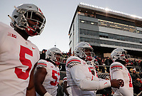 Ohio State Buckeyes quarterback Dwayne Haskins Jr. (7) leads the Buckeyes onto the field for warmups before a NCAA college football game between the Purdue Boilermakers and the Ohio State Buckeyes on Saturday, October 20, 2018 at Ross-Ade Stadium in West Lafayette, Indiana. [Joshua A. Bickel/Dispatch]