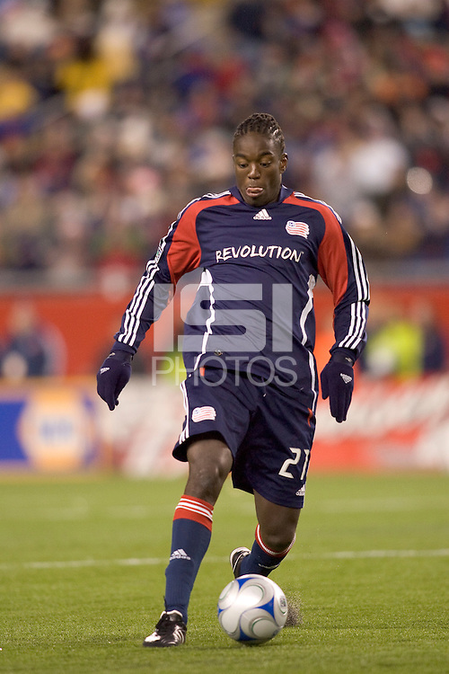 New England Revolution midfielder Shalrie Joseph (21). The New England Revolution defeated the Houston Dynamo 3-0 in their Major League Soccer home opener at Gillette Stadium in Foxborough, Massachusetts on March 29, 2008.