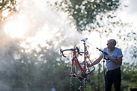 Team Lotto-Soudal mechanic cleaning the bikes Adam Hansen after a stage of the 2019 Giro d'Italia <br /> <br /> ©kramon