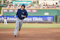 Mobile BayBears designated hitter Hutton Moyer (11) rounds the bases after hitting a first inning home run during a game against the Jacksonville Jumbo Shrimp on April 14, 2018 at Baseball Grounds of Jacksonville in Jacksonville, Florida.  Mobile defeated Jacksonville 13-3.  (Mike Janes/Four Seam Images)