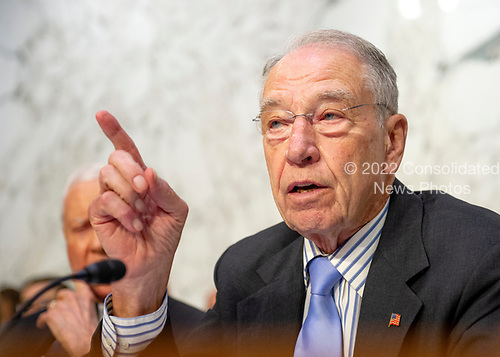 """United States Senator Chuck Grassley (Republican of Iowa), chairman, joins the debate about the release of documents designated """"committee confidential"""" prior to the US Senate Judiciary Committee beginning the third day of testimony from Judge Brett Kavanaugh on his nomination as Associate Justice of the US Supreme Court to replace the retiring Justice Anthony Kennedy on Capitol Hill in Washington, DC on Thursday, September 6, 2018.<br /> Credit: Ron Sachs / CNP<br /> (RESTRICTION: NO New York or New Jersey Newspapers or newspapers within a 75 mile radius of New York City)"""