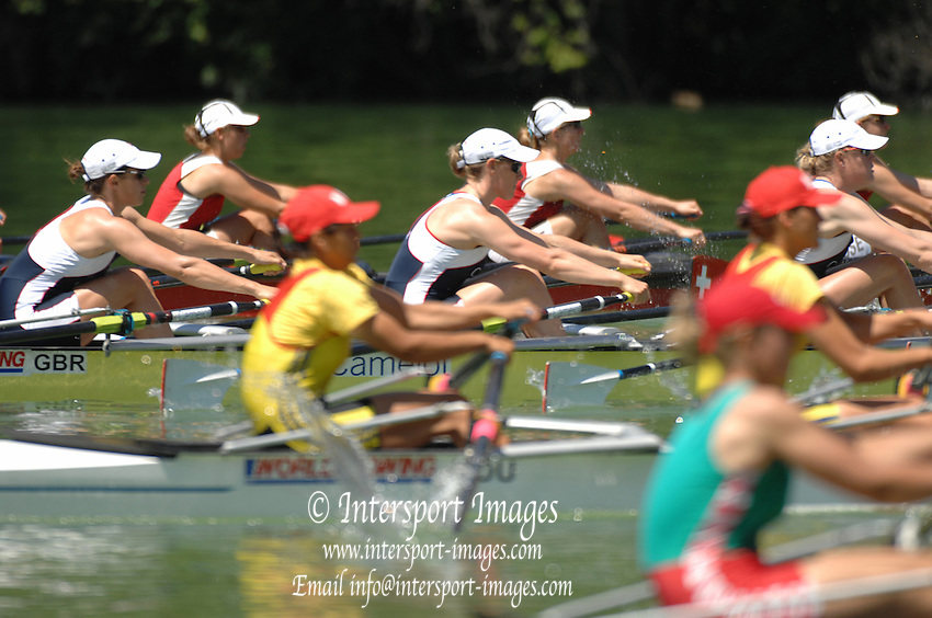 Lucerne, SWITZERLAND, Start  GBR W4X left Annie VERNON, Debbie FLOOD and Frances HOUGHTON. competing at the 2007 FISA World Cup, Lucerne, on the Rotsee Lake, 13/07/2007  [Mandatory Credit Peter Spurrier/ Intersport Images] , Rowing Course, Lake Rottsee, Lucerne, SWITZERLAND.