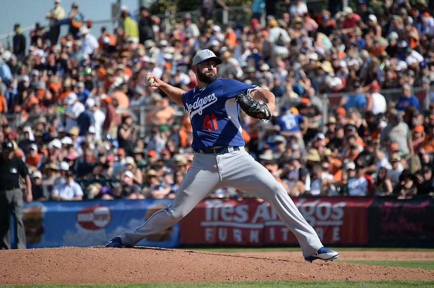 Los Angeles Dodgers at the San Francisco Giants Monday March 9, 2015 at Scottsdae Stadium in Scottsdale,Arizona.The Dodgers and Giants tied at 5.Photo by Jon SooHoo/©Los Angeles Dodgers,LLC 2015