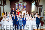Pupils from Glenderry NS, Ballyheigue pictured after their First Holy Communion on Saturday in St Mary's church, Ballyheigue with their teachers Gerard Pierce (principal) and Mary Monahan and Fr O'Mahony.