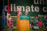 Anna Keenan singles out the obstructers to the Climate Change process during the youth speech at the high level.(©Robert vanWaarden Nusa Dua, Indonesia, Dec. 14, 2007)